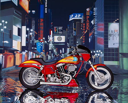 MOT 01 RK0216 08 © Kimball Stock 1977 Harley-Davidson Custom Red Profile Street Scene Background