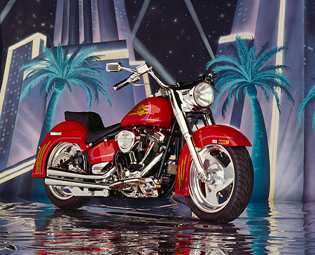 MOT 01 RK0224 02 © Kimball Stock 1991 Custom Chrome Softail Red 3/4 Side View Hollywood Background