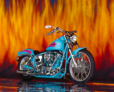 MOT 01 RK0230 02 © Kimball Stock 1976 Custom Chrome Shovelhead Light Blue And Pink 3/4 Side View Flames