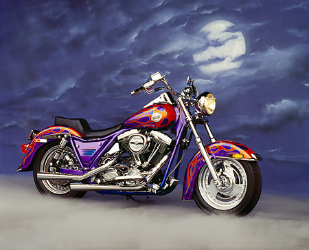 MOT 01 RK0248 13 © Kimball Stock 1986 Custom Chrome FXR Purple With Flames 3/4 Side View Fog With Moon Background