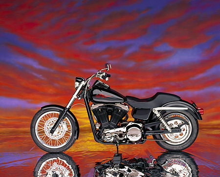 MOT 01 RK0266 07 © Kimball Stock 1991 Canepa Design Sturgis Black Profile Sunset Clouds