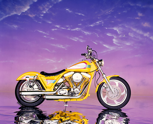 MOT 01 RK0269 08 © Kimball Stock 1985 Harley-Davidson FXRP Yellow Profile Purple Clouds