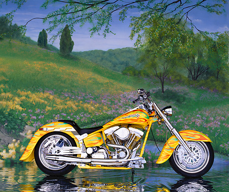 MOT 01 RK0288 02 © Kimball Stock 90's Custom Chrome Big Twin Softail Yellow With Flames Profile Spring Creek