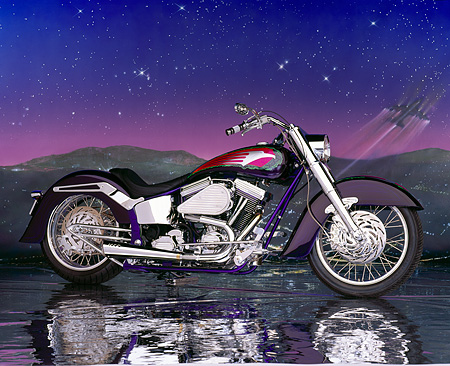 MOT 01 RK0291 03 © Kimball Stock 90's Radical Softail Custom Purple Profile Purple Starry Night Mountains