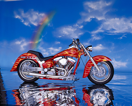 MOT 01 RK0293 02 © Kimball Stock 90's Radical Custom Big Twin Softail Red With Flames Clouds And Rainbow