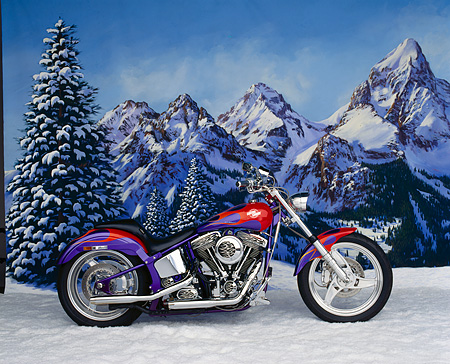 MOT 01 RK0294 03 © Kimball Stock 1996 Custom Chrome Hot Bike Softail Purple Red Flames Profile Snow Mountains