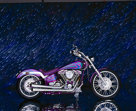 MOT 01 RK0313 01 © Kimball Stock 1996 Logreco Softail Purple Profile Meteor Shower Background