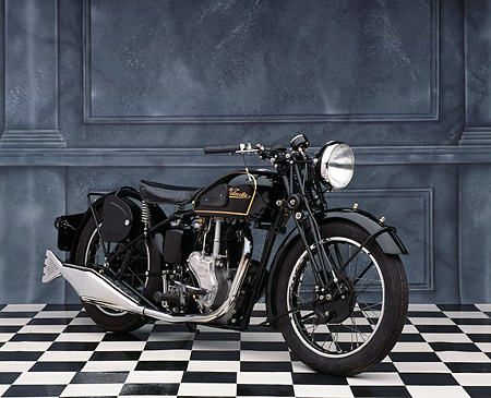 MOT 01 RK0327 05 © Kimball Stock 1947 Velocette MSS Black 3/4 Front View On Checkered Floor Gray Marble Background