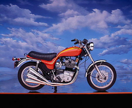 MOT 01 RK0331 06 © Kimball Stock 1973 Triumph Hurricane Orange Profile On Orange Line Cloudy Blue Sky Background