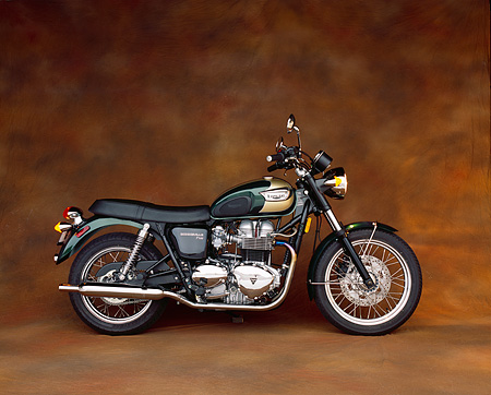 MOT 01 RK0361 03 © Kimball Stock 2003 Triumph Bonneville T100 Green And Gold Profile On Brown Mottled Background