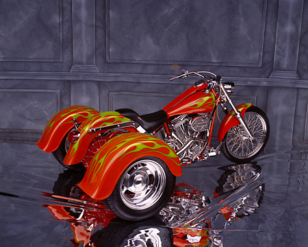 MOT 01 RK0435 02 © Kimball Stock Harley Davidson Trike Orange With Green Flames