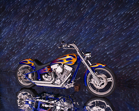 MOT 01 RK0443 01 © Kimball Stock 2002 Special Construction Custom Blue With Flames