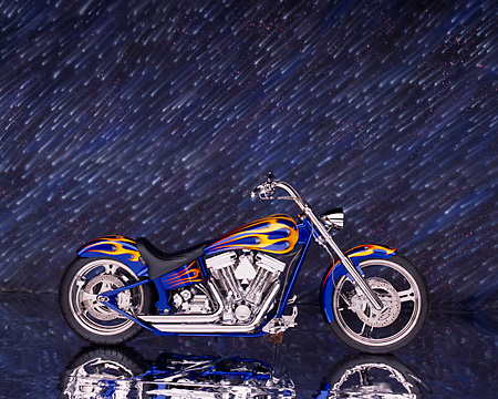 MOT 01 RK0444 03 © Kimball Stock 2002 Special Construction Custom Blue With Flames Profile View Studio
