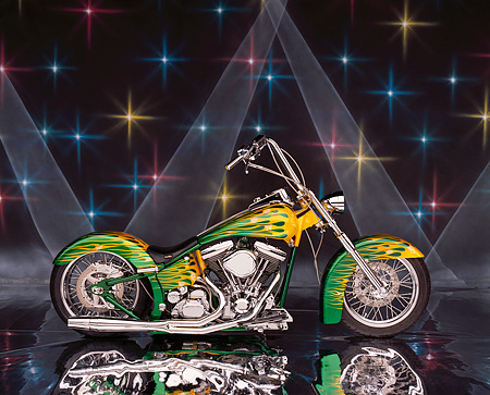 MOT 01 RK0449 10 © Kimball Stock 2004 Coastside Custom Softail Green Yellow Flames Side View On Mylar Spotlights Studio
