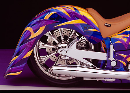 MOT 01 RK0470 01 © Kimball Stock 2004 Custom Motorcycle Custom Graphics Detail Rear Tire And Fender Shot