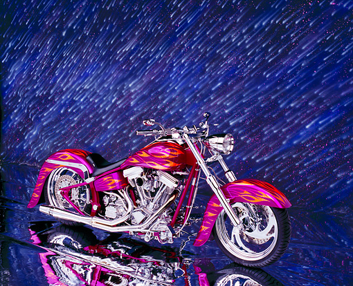 MOT 01 RK0474 03 © Kimball Stock 2003 Riff Raff Custom Fuschia Orange Flames 3/4 Front View On Mylar Floor Showering Stars