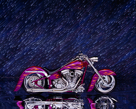 MOT 01 RK0475 03 © Kimball Stock 2003 Riff Raff Custom Fuchsia Orange Flames Profile View Studio
