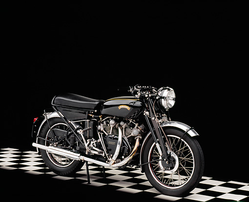 MOT 01 RK0513 02 © Kimball Stock 1955 Vincent Black Shadow Side 3/4 View On Checkered Floor Studio