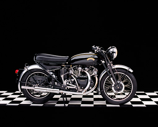 MOT 01 RK0514 01 © Kimball Stock 1955 Vincent Black Shadow Profile View On Checkered Floor Studio