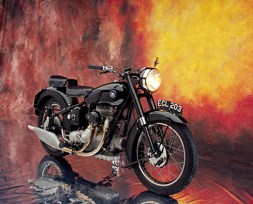 MOT 01 RK0521 02 © Kimball Stock 1950 Sunbeam S8 Black 3/4 Front View On Mylar Floor Studio