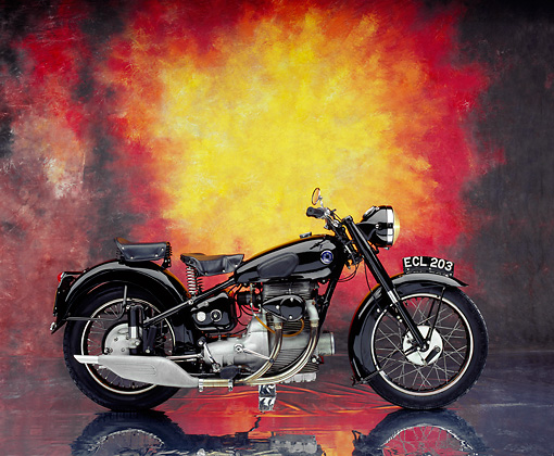 MOT 01 RK0522 03 © Kimball Stock 1950 Sunbeam S8 Black Side View On Mylar Floor Studio