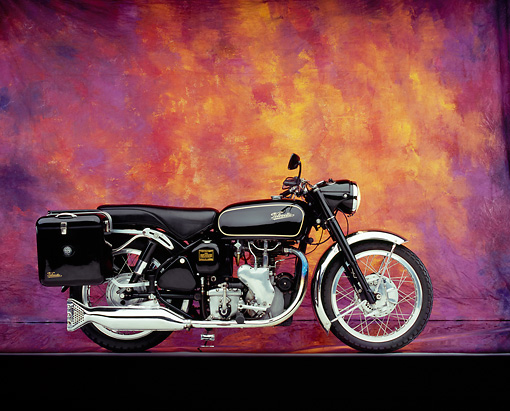 MOT 01 RK0526 08 © Kimball Stock 1966 Velocette Venom Black Side View On Mylar Floor Mottled Background