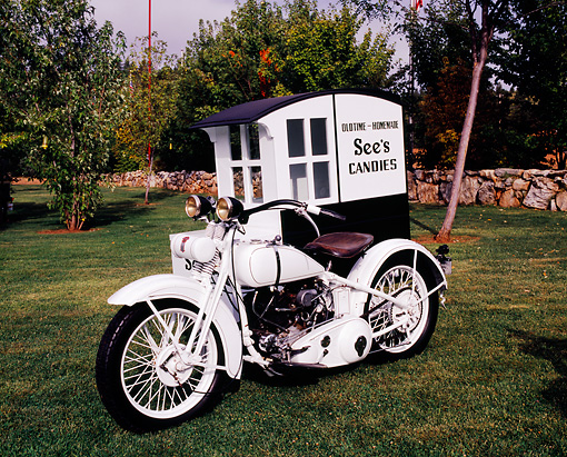MOT 01 RK0535 02 © Kimball Stock See's Candy Motorcycle Black And White 3/4 Front View With Sidecar On Grass