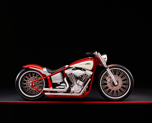 MOT 01 RK0574 01 © Kimball Stock 2004 V Twin Softail Orange And Cream Side View On Red Line Studio