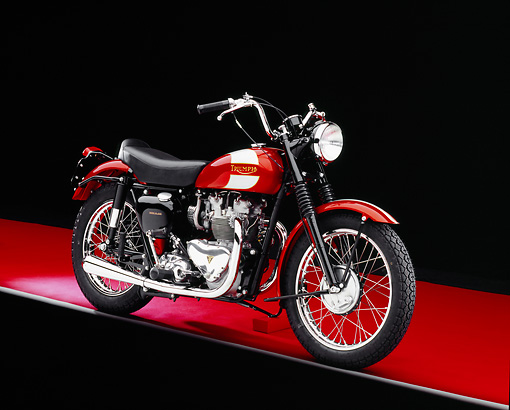 MOT 01 RK0587 09 © Kimball Stock 1955 Triumph TR5 Red British Bike 3/4 Side View On Red Floor Gray Line Studio