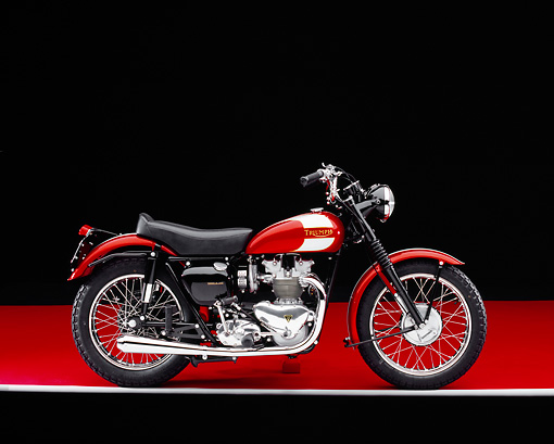 MOT 01 RK0588 08 © Kimball Stock 1955 Triumph TR5 Red British Bike Profile View On Red Floor Gray Line Studio