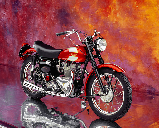 MOT 01 RK0589 03 © Kimball Stock 1955 Triumph TR5 Red British Bike 3/4 Side View On Mylar Floor Studio
