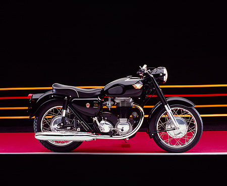 MOT 01 RK0611 02 © Kimball Stock 1966 Matchless, G80, Black Motorcycle Profile View On Red Floor Colorful Lines Studio