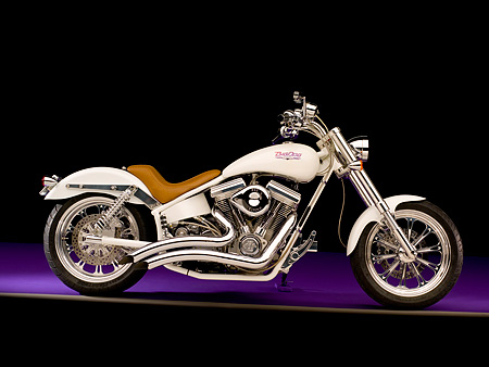 MOT 01 RK0629 01 © Kimball Stock 2002 Big Dog Prosport White Profile Shot On Purple Floor Studio
