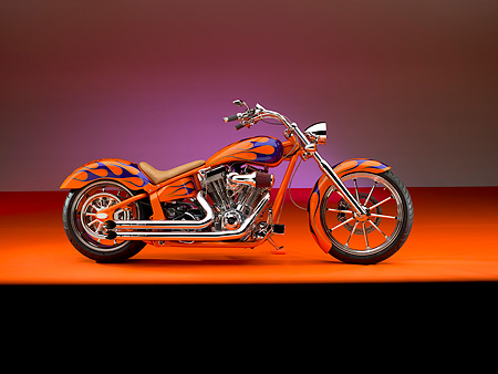 MOT 01 RK0634 01 © Kimball Stock 2006 Special Construction Prostreet Orange Purple Flames Profile Shot On Orange Floor Studio