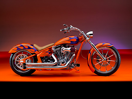 MOT 01 RK0635 01 © Kimball Stock 2006 Special Construction Prostreet Orange Purple Flames Profile Shot On Orange Floor Studio