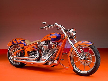MOT 01 RK0636 01 © Kimball Stock 2006 Special Construction Prostreet Orange Purple Flames 3/4 Side View On Orange Floor Studio