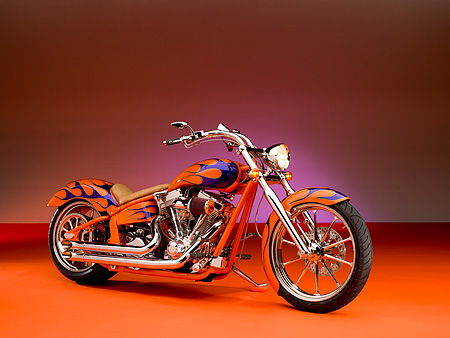MOT 01 RK0637 01 © Kimball Stock 2006 Special Construction Prostreet Orange Purple Flames 3/4 Side View On Orange Floor Studio