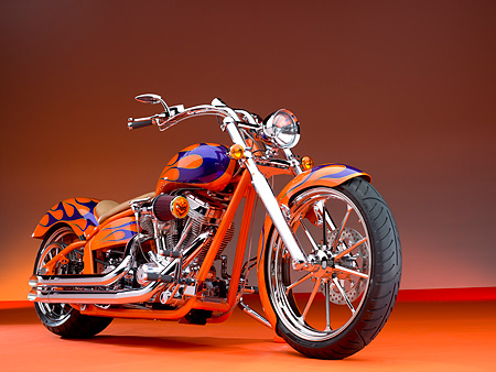 MOT 01 RK0638 01 © Kimball Stock 2006 Special Construction Prostreet Orange Purple Flames Low 3/4 Front View On Orange Floor Studio