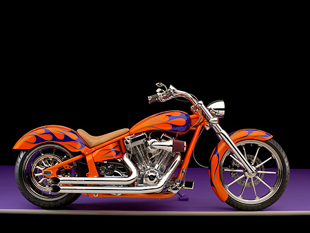 MOT 01 RK0639 01 © Kimball Stock 2006 Special Construction Prostreet Orange Purple Flames Profile View On Purple Floor Studio