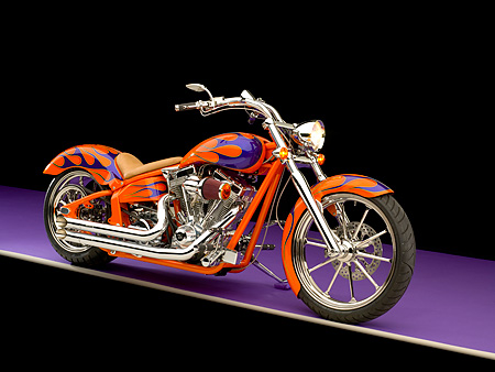 MOT 01 RK0640 01 © Kimball Stock 2006 Special Construction Prostreet Orange Purple Flames 3/4 Side View On Purple Floor Studio