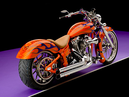 MOT 01 RK0641 01 © Kimball Stock 2006 Special Construction Prostreet Orange Purple Flames 3/4 Rear View On Purple Floor Studio