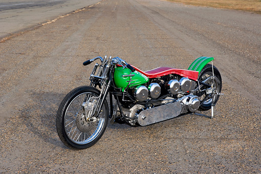 MOT 01 RK0689 01 © Kimball Stock 1947 Harley Davidson Dual Knucklehead Green And Red Side 3/4 Side View On Pavement