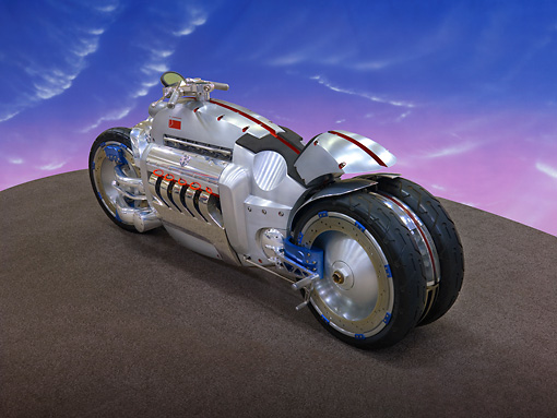 MOT 01 RK0735 01 © Kimball Stock Dodge Tomahawk Concept Motorcycle Silver 3/4 Rear View