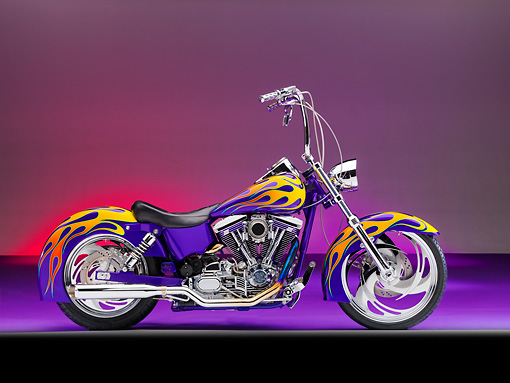 MOT 01 RK0743 01 © Kimball Stock River Rat Customs 1995 Dyna Wide Glide Purple With Flames Profile View Studio