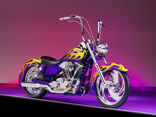 MOT 01 RK0745 01 © Kimball Stock River Rat Customs 1995 Dyna Wide Glide Purple With Flames 3/4 Front View Studio