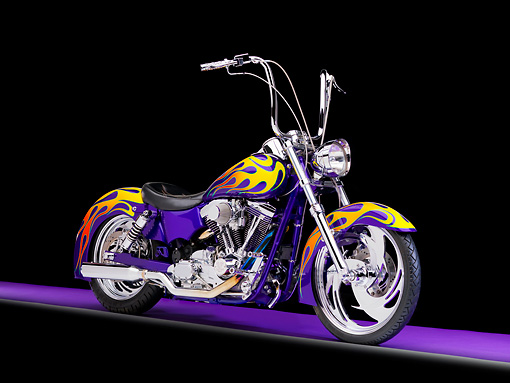 MOT 01 RK0746 01 © Kimball Stock River Rat Customs 1995 Dyna Wide Glide Purple With Flames 3/4 Front View Studio