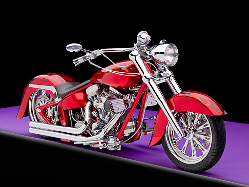 MOT 01 RK0750 01 © Kimball Stock 2002 Hot Candy Apple Red Custom Motorcycle 3/4 Front View Studio