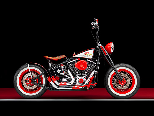 MOT 01 RK0755 01 © Kimball Stock 2006 Harley-Davidson Motorcycle Black And Red Custom Profile View Studio