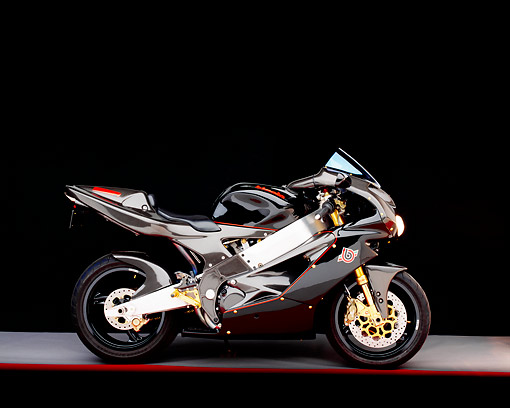 MOT 02 RK0092 03 © Kimball Stock 2000 Bimota SB8 R Special Black Side View On Gray Floor Red Line Studio