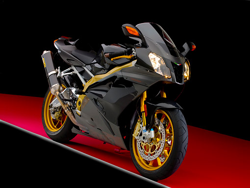 MOT 02 RK0327 01 © Kimball Stock 2006 Aprilia Factory RSV 1000RR Black 3/4 Front View On Red Floor Studio